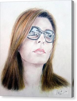 Beauty Wearing Sunglasss  Canvas Print by Jim Fitzpatrick