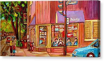 Beauty's Cafe Plateau Montreal Street Scene Brunch Deli Paintings Carole Spandau Canvas Print by Carole Spandau