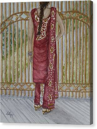 Red Dress Canvas Print - Beauty's On This Side Of The Fence by Kelly Mills