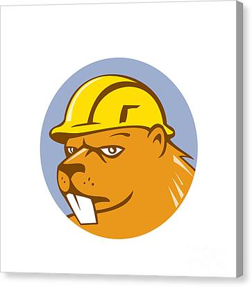 Beaver Construction Worker Circle Cartoon  Canvas Print