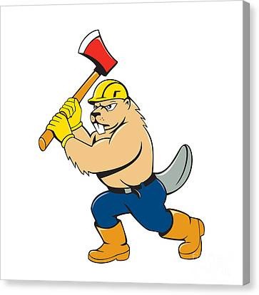 Beaver Lumberjack Wielding Ax Cartoon Canvas Print