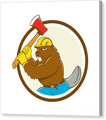 Beaver Lumberjack Wielding Ax Circle Cartoon Canvas Print