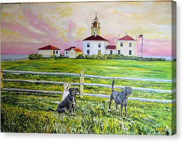 Beavertail Lighthouse Dogs, Jamestown, Rhode Island Canvas Print