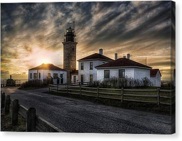 Beavertail Lighthouse Sunset Canvas Print by Joan Carroll
