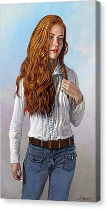 Becca In Blouse And Jeans Canvas Print
