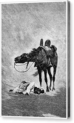 Bedouin And Horse In A Sandstorm Canvas Print