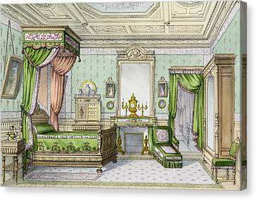 Bedroom In The Renaissance Style Canvas Print by French School
