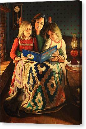 Canvas Print featuring the painting Bedtime Stories by Glenn Beasley