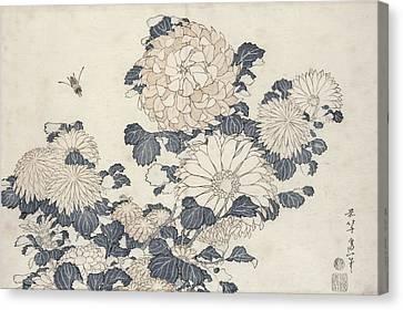 Bee And Chrysanthemums Canvas Print by Katsushika Hokusai