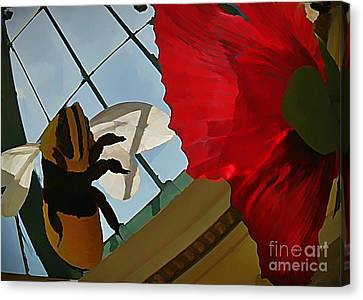 Bee And Flower Canvas Print by John Malone