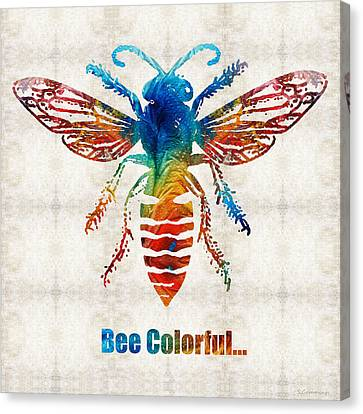 Country Cottage Canvas Print - Bee Colorful - Art By Sharon Cummings by Sharon Cummings