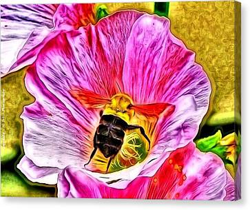 Canvas Print featuring the photograph Bee Here In Colour by Al Fritz
