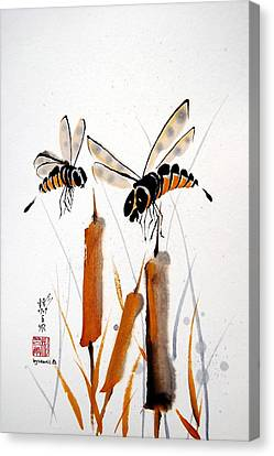 Canvas Print featuring the painting Bee-ing Present by Bill Searle