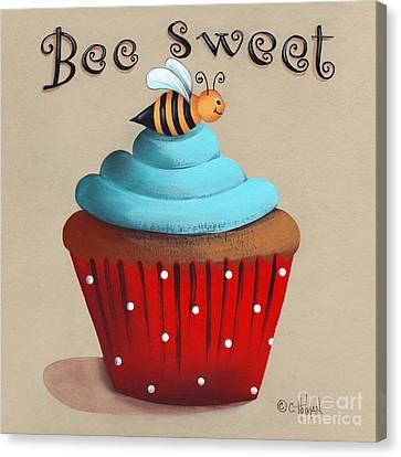 Bee Sweet Cupcake Canvas Print by Catherine Holman