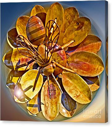 Bee To The Flower Canvas Print by Tom Gari Gallery-Three-Photography