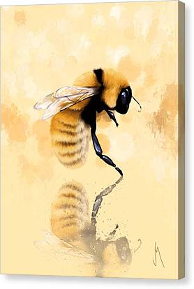 Water Drops Canvas Print - Bee by Veronica Minozzi