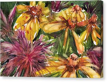 Beebalm And Heliopsis Canvas Print