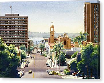 Beech Street In San Diego Canvas Print by Mary Helmreich