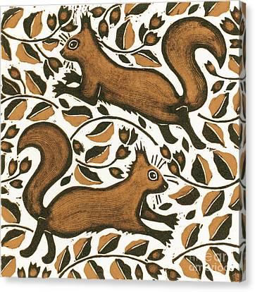 Beechnut Squirrels Canvas Print by Nat Morley