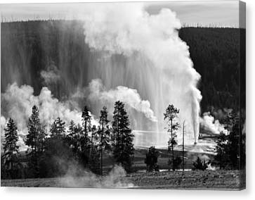 Beehive Geyser Shower In Black And White Canvas Print by Bruce Gourley