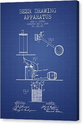 Beer Apparatus Patent From 1885 - Blueprint Canvas Print by Aged Pixel