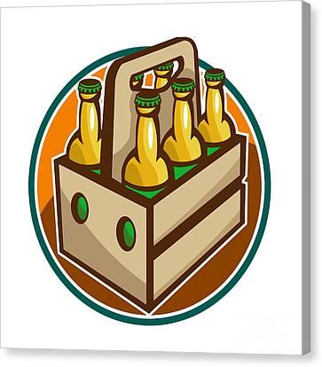 Beer Bottle 6 Pack Retro Canvas Print