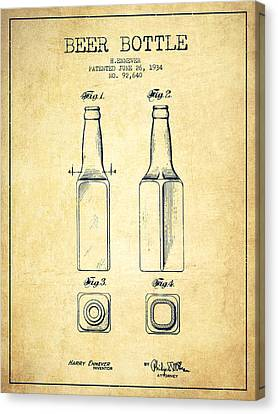 Beer Bottle Patent Drawing From 1934 - Vintage Canvas Print by Aged Pixel