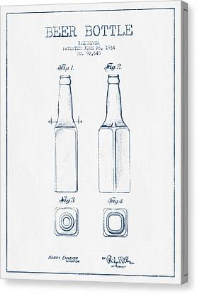 Beer Bottle Patent From 1934 -  Blue Ink Canvas Print by Aged Pixel