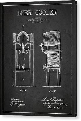 Beer Cooler Patent Drawing From 1876 - Dark Canvas Print