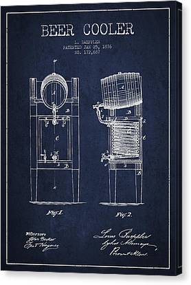 Beer Cooler Patent Drawing From 1876 - Navy Blue Canvas Print
