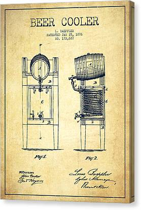 Beer Cooler Patent Drawing From 1876 - Vintage Canvas Print