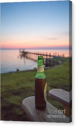 Beer In The Sunset In Obx Canvas Print by Kay Pickens