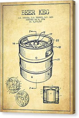 Beer Keg Patent Drawing - Vintage Canvas Print by Aged Pixel