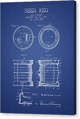 Beer Keg Patent From 1937 - Blueprint Canvas Print by Aged Pixel