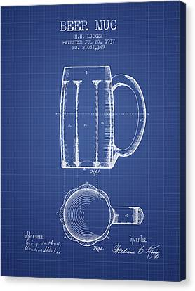 Glass Wall Canvas Print - Beer Mug Patent 1876 - Blueprint by Aged Pixel