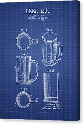 Glass Wall Canvas Print - Beer Mug Patent 1951 - Blueprint by Aged Pixel