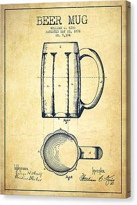 Beer Mug Patent Drawing From 1876 - Vintage Canvas Print by Aged Pixel