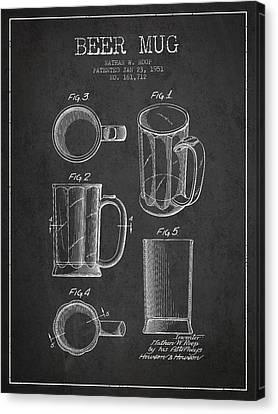 Beer Mug Patent Drawing From 1951 - Dark Canvas Print