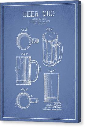 Glass Wall Canvas Print - Beer Mug Patent Drawing From 1951 - Light Blue by Aged Pixel