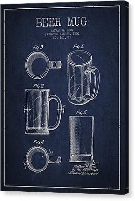 Beer Mug Patent Drawing From 1951 - Navy Blue Canvas Print by Aged Pixel
