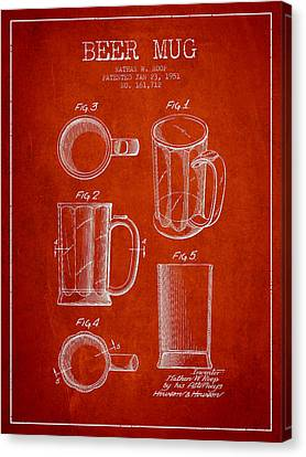 Beer Mug Patent Drawing From 1951 - Red Canvas Print by Aged Pixel