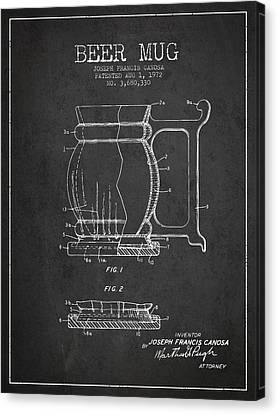 Beer Mug Patent Drawing From 1972 - Dark Canvas Print by Aged Pixel