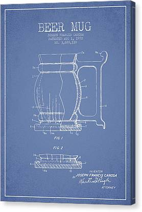 Beer Mug Patent Drawing From 1972 - Light Blue Canvas Print by Aged Pixel