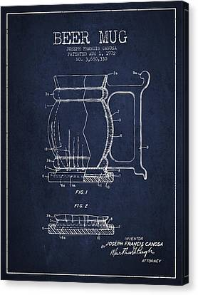 Beer Mug Patent Drawing From 1972 - Navy Blue Canvas Print by Aged Pixel