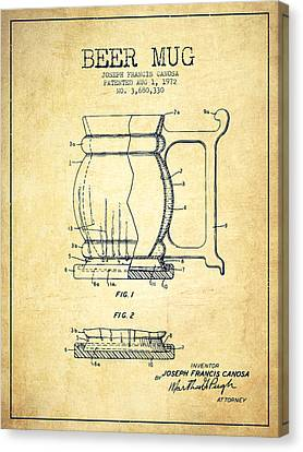 Beer Mug Patent Drawing From 1972 - Vintage Canvas Print by Aged Pixel