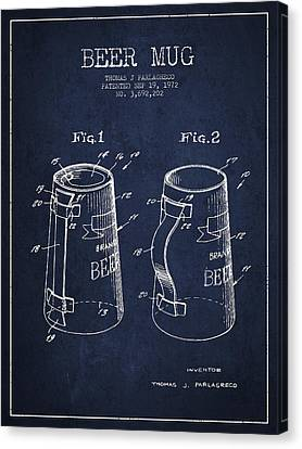 Beer Mug Patent From 1972 - Navy Blue Canvas Print by Aged Pixel