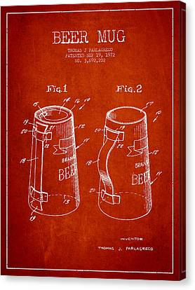 Glass Wall Canvas Print - Beer Mug Patent From 1972 - Red by Aged Pixel