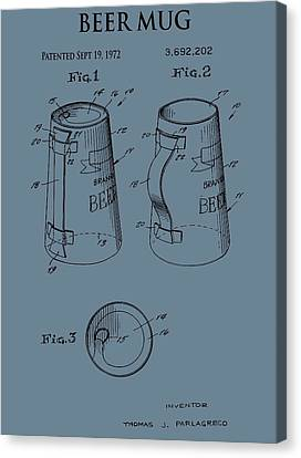 Beer Mug Patent On Blue Canvas Print by Dan Sproul