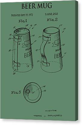 Beer Mug Patent On Green Canvas Print