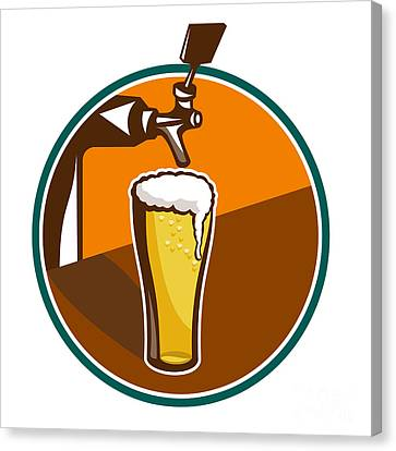 Beer Pint Glass Tap Retro Canvas Print